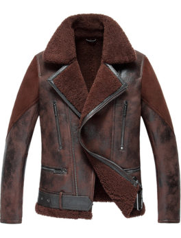 Mens Fur Collar B3 Leather Jacket
