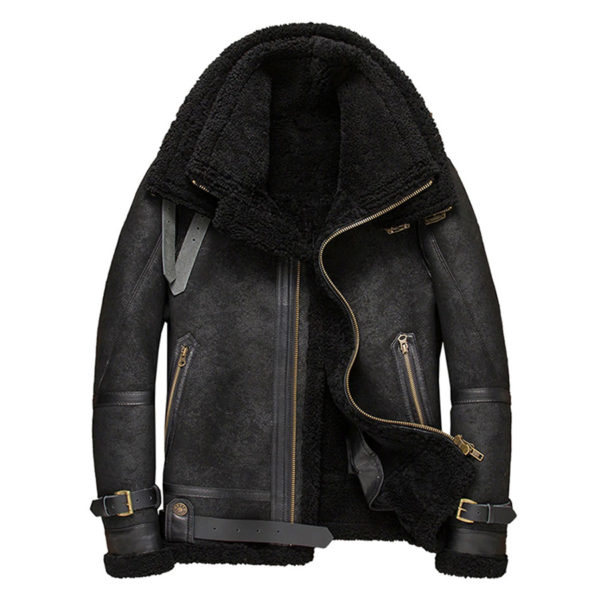 Mens Double Fur Collar B3 Leather Jacket