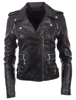 Womens Leather Jacket Stylish Motorcycle Biker Genuine Lambskin 211