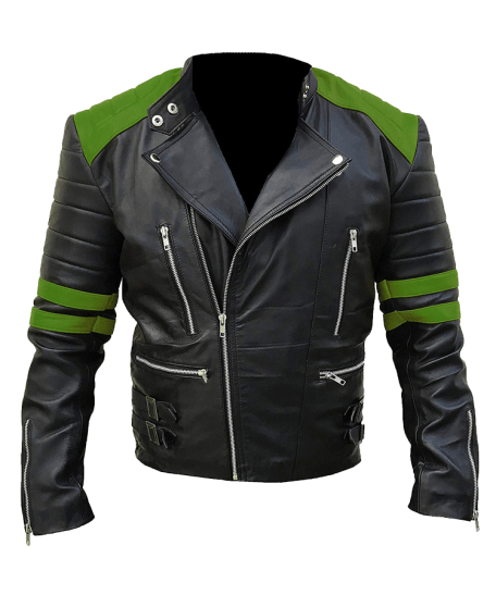 Mens-Classic-Vintage-Motorcycle-Green-Real-Leather-Jacket