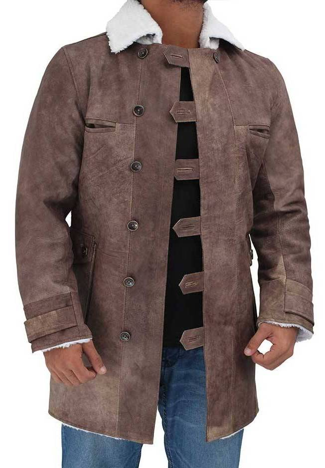 Tom Hardy Distressed Shearling Coat
