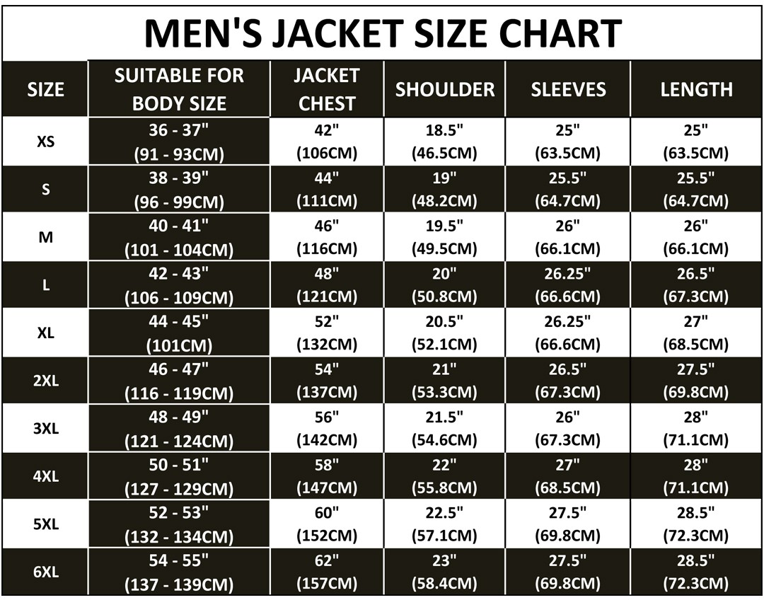 Size chart for Mens