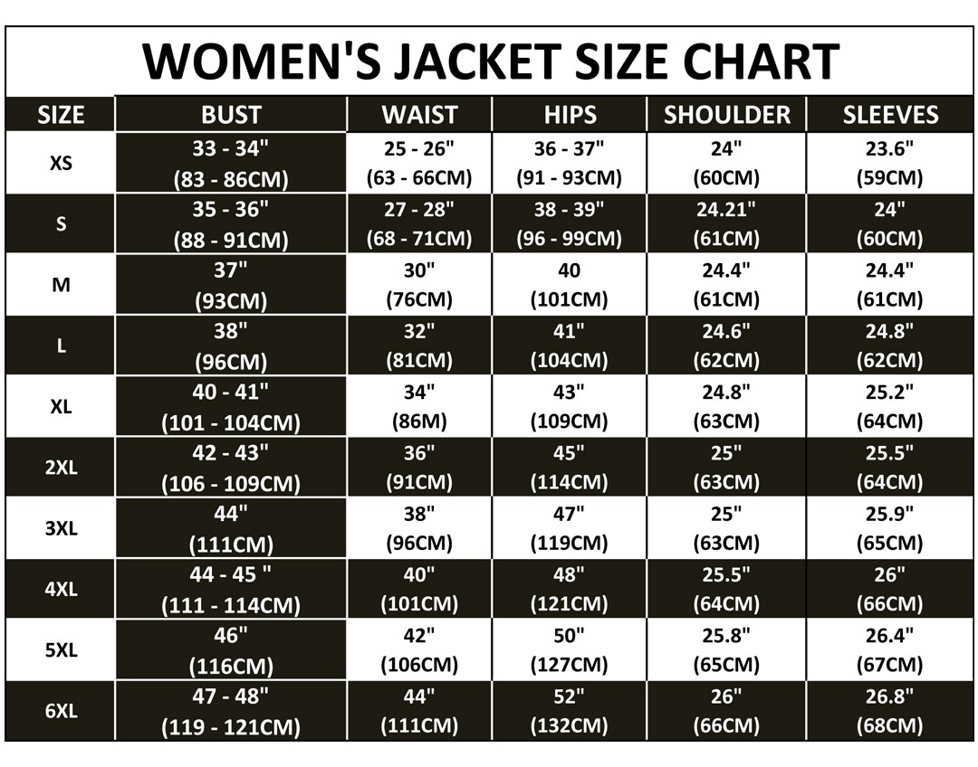 Size chart for Womens