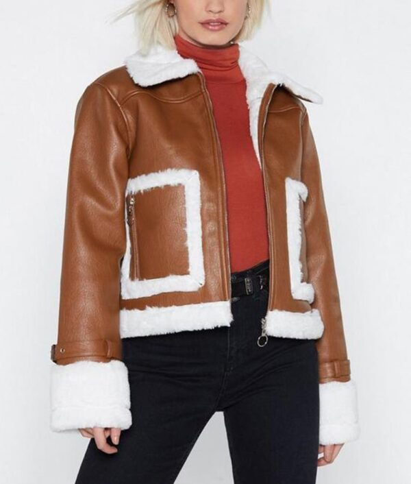 Womens Brown Cropped Aviator Leather Jacket