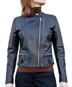 Leather Fitted Biker Moto Jacket for Women