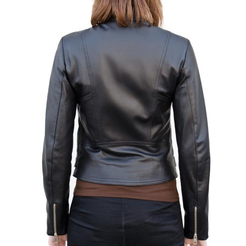 Leather Fitted Biker Moto Jacket