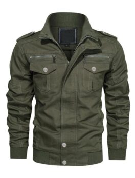 Finley Green Cotton Bomber Jacket for Mens