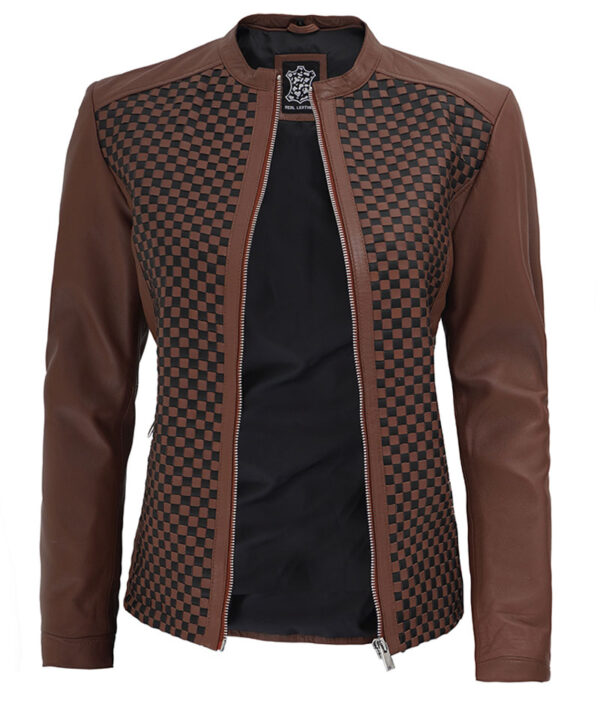 Maude Brown Womens Leather Textured Jacket