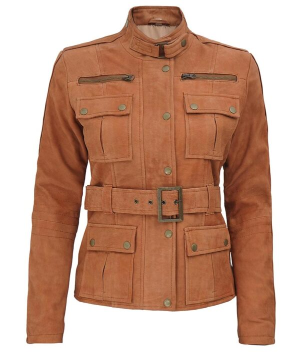 Carolyn Womens Suede Leather Tan Four Pockets Jacket