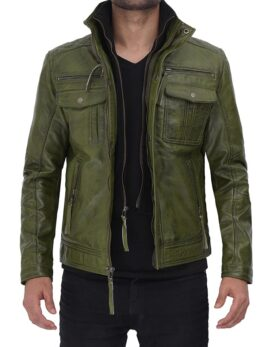 Moffit Green Mens Real Leather Jacket