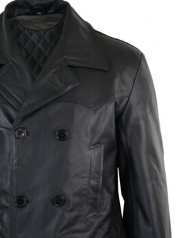 Infinity UCF08 Mens Long 3/4 Dark Goth Punk Rock Double Breasted Real Leather Dr Who Jacket Uboat
